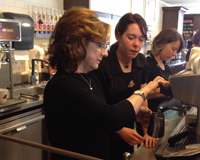 Learning to make the flat white at second cup wit barista Daniella Krapivnik.
