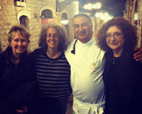 With Chef Moshe Basson and Rabbi Elyse Goldstein and guide Judy Goldman at Eucalytus in Jerusalem1